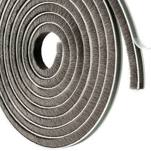 Self-Adhesive Pile Weather Stripping 3/8 Inch x 3/8 Inch x 39.5 Feet Fuzzy Door Weather Seal Door Brush Strip in High Density for Window Door Sliding Sash Wardrobe (Grey)