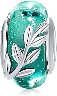 pandora green flower murano charm