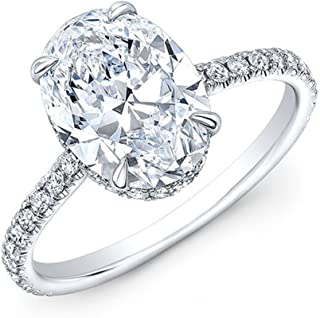 KING OF JEWELRY Natural, Not Enhanced Oval Cut Hidden Halo Pave Diamond Engagement Ring, G-Color, VS2 Clarity - GIA Certified