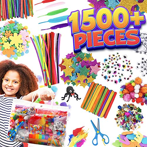 [ 1500+ PCS ] Craft Supplies for Kids Ages 4-12, Kids Art Sets DIY Crafting Kit, Including Pipe Cleaners Googly Eyes, Nice Birthday School Activity with Carrying Store Bag