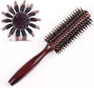 天然ロールブラシ くし ヘアブラシ ヘアーブラシ ブラッシング 豚毛カールブラシ 巻き髪 静電気防止 髪をケア 高級美容 クルクル 天然木