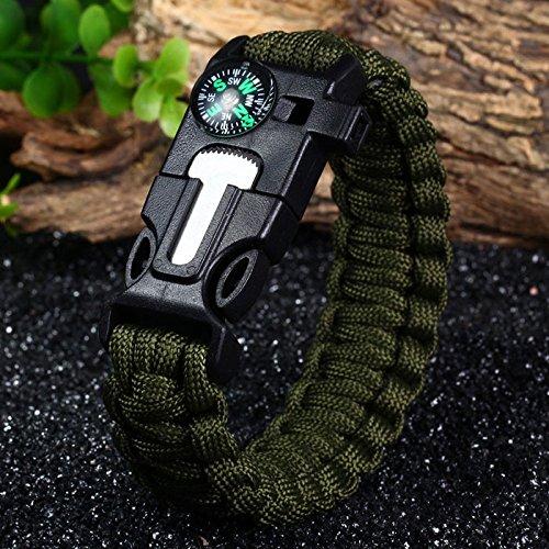 of bracelet with survival whistles 5X Paracord 5in1 Survival Bracelet Compass/Flint/Fire Whistle Scraper Compass