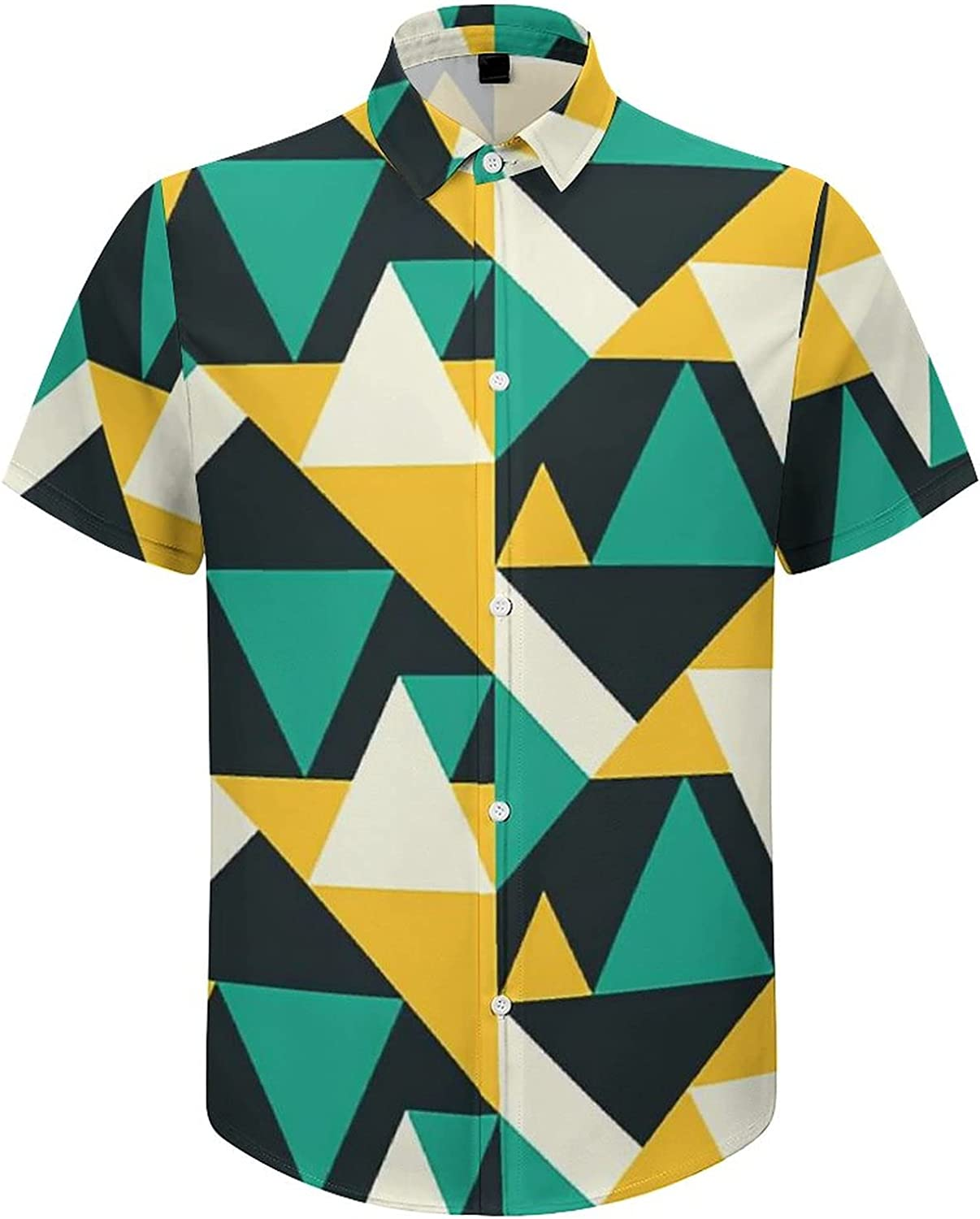 Men's Regular-Fit Short-Sleeve Printed Party Holiday Shirt Geometric Abstract