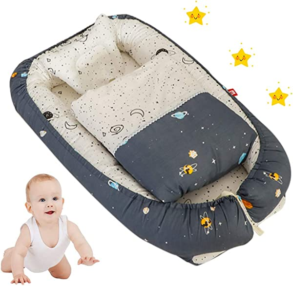 Toys Studio Baby Lounger For Newborn Cotton Baby Nest Soft Baby Bassinet For Bed Portable Breathable Co Sleeping Cribs For Bedroom Travel Universe