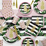 Creative Converting Golden Pineapple Party Supplies Kit, Serves 8