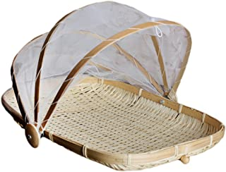 Dolity Bamboo Tent Basket Serving Food Outdoor Picnic Pop Up Mesh Screen Net Cover -, L Rectangle