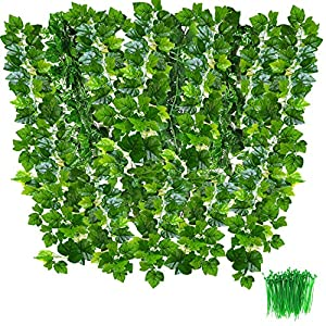 Artificial Vines, OrgMemory Fake Plants, (85″ Each, 100Pcs Cable Tie), Greenery Garlands Hanging for Wedding Party Garden Decor
