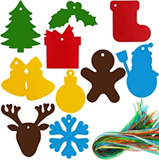 120 Pcs Christmas Gift Tags Snowman Bauble Bell Snow Reindeer Holly Berry Stocking Cuts Outs Favor Tags Treats Tags Hang Tags Name Place Cards Escort Cards Tree Ornament with Holes Hanging Sign Tags
