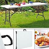 Monzana Gartentisch Buffettisch Klappbar 240 cm mit Tragegriff Kunststoff Weiß - Klapptisch Camping Partytisch Koffertisch
