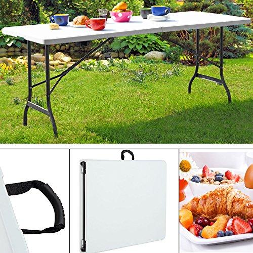 Monzana   Table de Camping • 240cm • Pliante • Plastique Blanc   Table de Jardin, terrasse