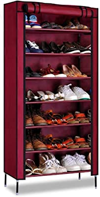 PARASNATH Mild Steel Red Cloth 7-8 Shelves Shoe Rack/Shoe Stand Made in India(Limited Time Offer)
