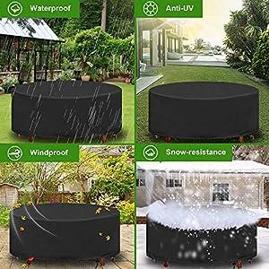 Muebles de Jardín Funda, Redondo Mesa de Jardín Funda Impermeable Resistente Circular Exterior Patio Mobiliario Refugio Funda Anti-UV Mesa de Comed
