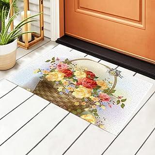 ALALAL Indoor Doormat Wicker Basket Roses Victorian Style Non Slip Entrance Rug,Welcome Front Door Mat for Kitchen, Bathro...