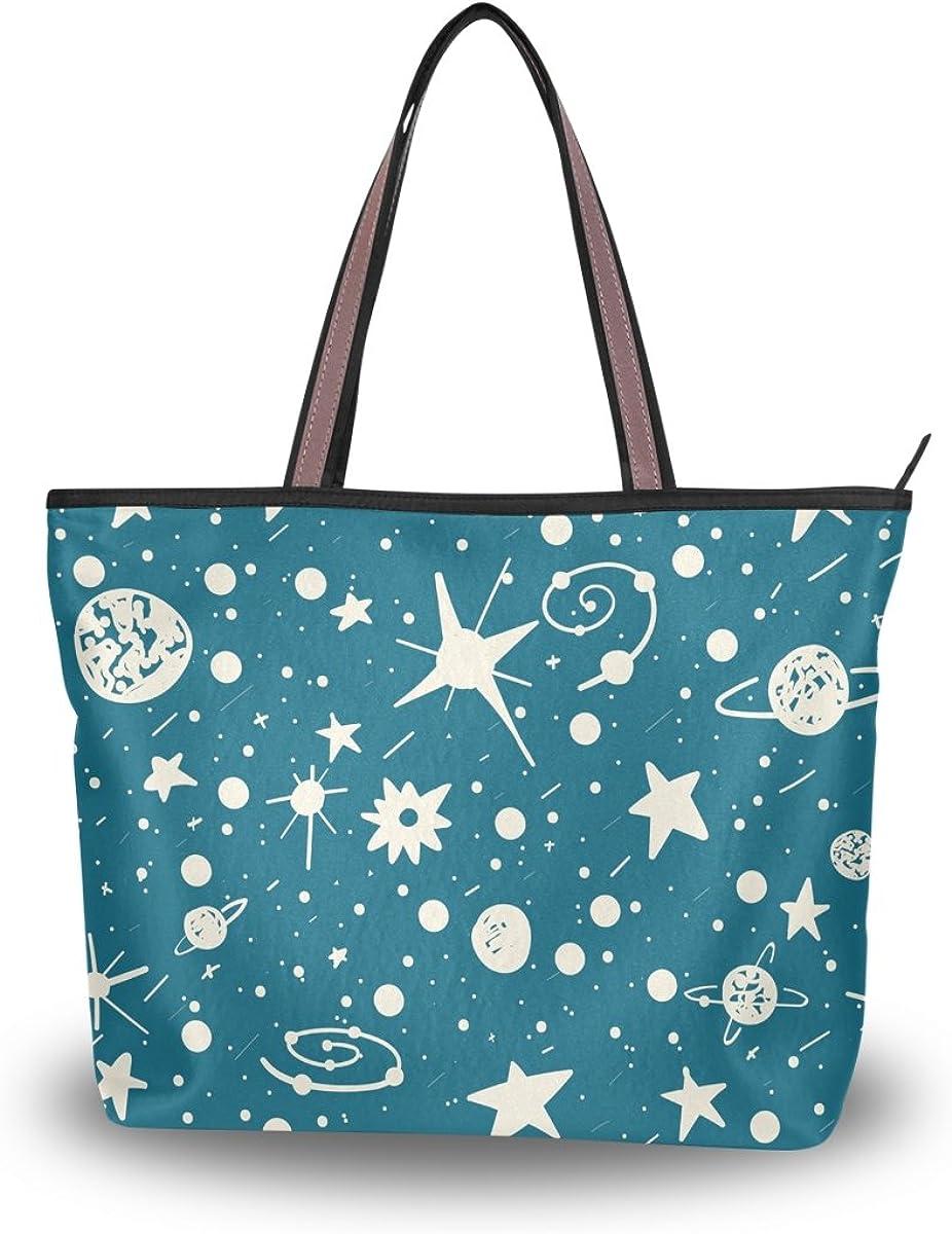 JSTEL Women Large Tote Top Handle Shoulder Bags Sky Space Stars Patern Ladies Handbag