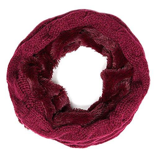 Dames sjaal loopsjaal met vlechtpatroon in bordeaux rood wintersjaal gebreide sjaal van Geralin Gioielli