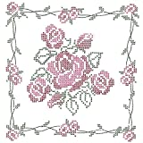 Jack Dempsey Stamped White Quilt Blocks, 18-Inch by 18-Inch, Rose Bouquet, 6-Pack