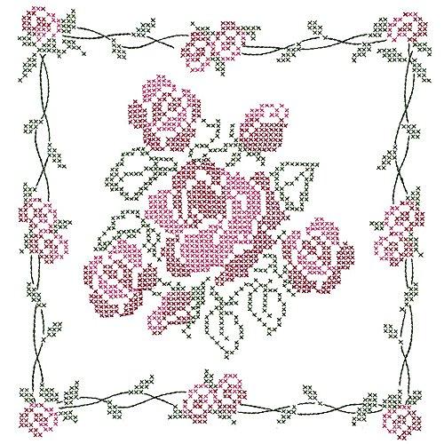 Jack Dempsey Stamped Blanc Couette Blocs, Bouquet de Roses (Lot de 6)