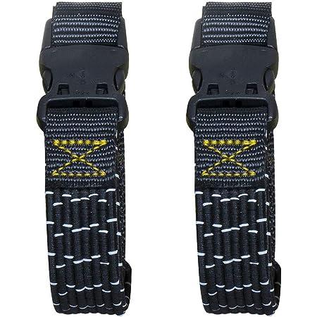"Amazon Basics Adjustable Stretch Straps, Black/Reflective w/Yellow Lline, 18"" - 60"", 2-Pack"