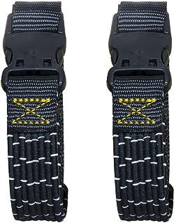 "AmazonBasics Adjustable Stretch Straps, Black/Reflective w/Yellow Lline, 18"" - 60"", 2-Pack"