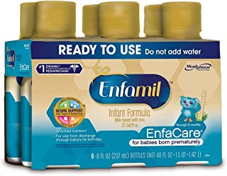 EnfaCare Ready to Feed Premature Newborn Baby Formula Milk, 8 Fluid Ounce (24 Count), Omega 3 DHA