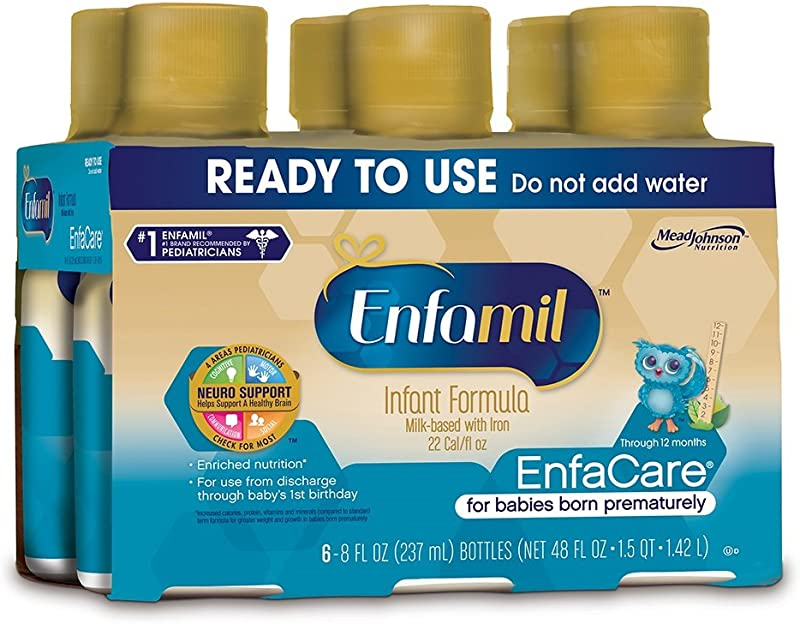Enfamil EnfaCare Ready To Feed Premature Newborn Baby Formula Milk 8 Fluid Ounce 24 Count Omega 3 DHA