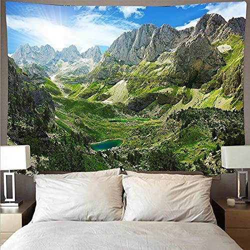 Hermoso bosque río paisaje arte tapiz psicodélico colgante de pared toalla de playa manta fina tapiz A2 73x95cm