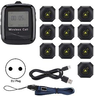 Sistema di chiamata wireless bar hotel pulsante di chiamata intelligente wireless con 1 ricevitore orologio e 10 segnali acustici cliente per ristoranti Spina UE 100-240 V. ecc cercapersone