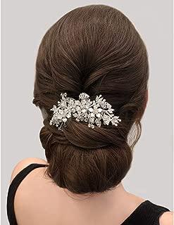 SWEETV Silver Wedding Hair Comb Rhinestone Hair Clip-Flower Hair Comb Handmade Bridal Hair Accessories for Bridal and Bridesmaid