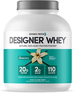Designer Whey Natural Protein Powder, French Vanilla, 4 Lb, Non GMO, No Artificial Flavors, Sweeteners, Colors, or Preserv...