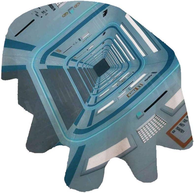 Angel Bags Mantel ovalado para decoración del espacio exterior, con signos de precaución, diseño de invasión de UFo, poliéster, 152 x 213 cm, para primavera, verano, fiesta, picnic, azul y blanco