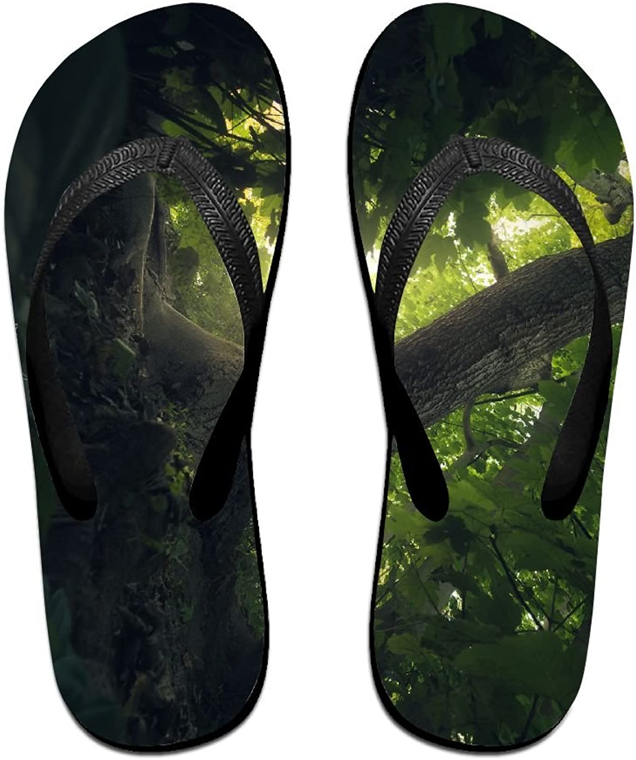 Unisex V Flip Flops Daniel Laan Dark Nature Trees Forest Personalized Summer Slipper
