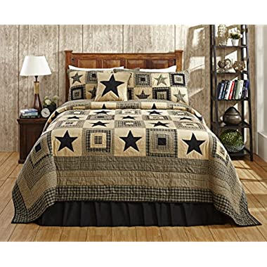 Colonial Star Black and Tan Primitive Country Quilt Set - 5 Piece (Queen/Full (5pc))