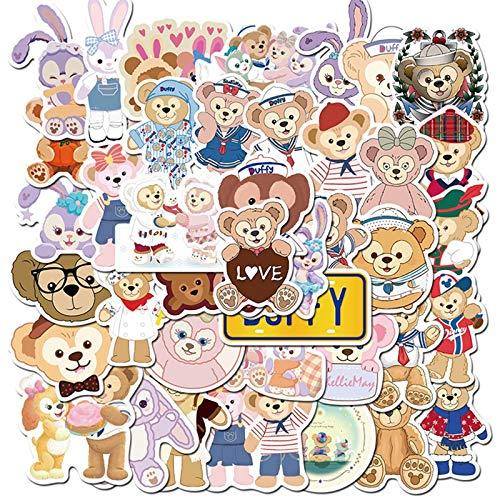 YZFCL Chica de Dibujos Animados corazón Duffy Oso y Ballet Conejo Oso Maleta portátil Lindo Pegatina Impermeable 40 Uds