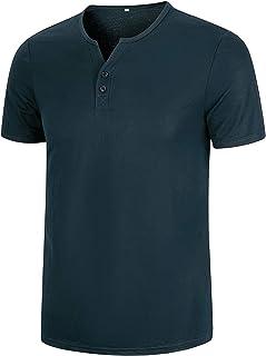 KTWOLEN Tシャツ メンズ 無地 半袖 2ボタン ヘンリーネックカジュアル 夏服 tシャツ