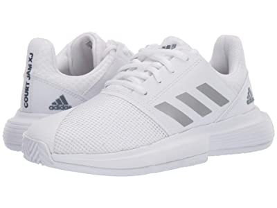 adidas Kids CourtJam X Tennis (Little Kid/Big Kid) (White/Silver/Tech Ink) Kids Shoes