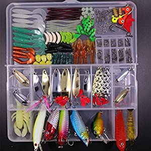 SHINE-CO LIGHTING Artificial Fishing Lures Set 180pcs Assorted Tackle Box with Hard and Soft Baits Metal Hooks Spoon Lures kit Crank Popper
