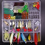 SHINE-CO LIGHTING Artificial Fishing Lures Set 180pcs Assorted Tackle Box with Hard and Soft Baits...