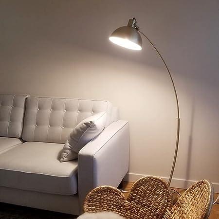 Lampadaire arc, Osasy Lampadaire de salon arqué Lampadaire courbé metal bronze,natural base en marbre,prise E27 40W Max. ,lampadaire canapé d'angle, pour lire réglable abat-jour