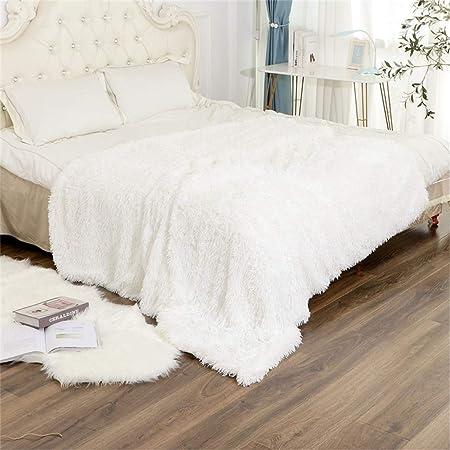 N /A Couverture Confortable en Fourrure 130 * 160cm Couverture de Salon Microfibre Couverture en Polaire Couverture de Canapé et décorations de lit(Blanc)