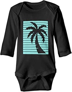 California Republic Turquoise Palm Infant Newborn Baby Girls Boy Long Sleeve Romper Bodysuit Outfits Clothes Tops