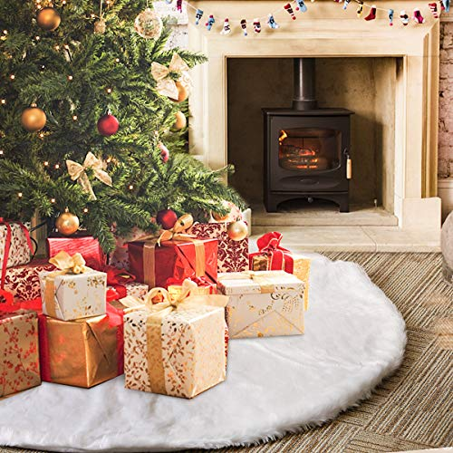 Rorchio Baumdecke Weihnachten 48 Zoll Weihnachtsbaum Röcke Weißer Schnee plüsch Weihnachtsbaum Teppich Decke Dekoration für Frohe Weihnachten Party Weihnachtsbaum Rock Dekorationen