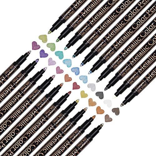 20 Farben Permanent Metallic Marker Stifte Set für DIY Fotoalbum, Permanent Brush Pen für...