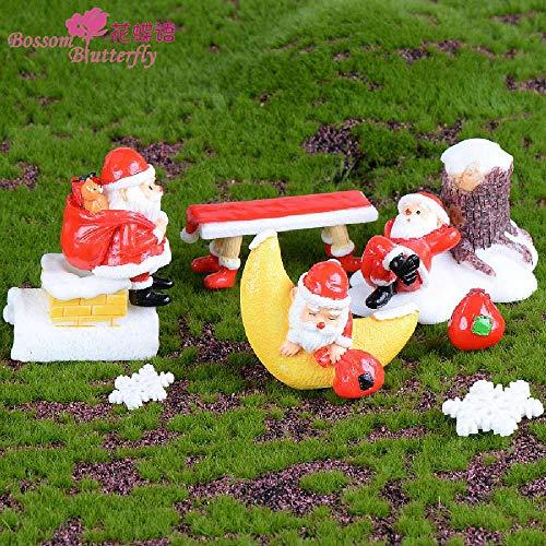minghui Accesorios Artesanales Nórdicos Micro Paisaje Santa Mirando Las Estrellas Nueva Decoración del Hogar Europea Pequeña Taburete Rojo de Navidad