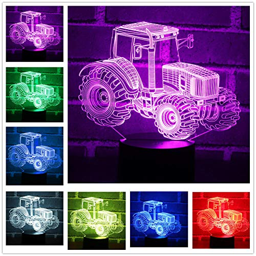 Niños Lámpara De Ilusión Óptica Luz Nocturna 3D Tractor Juguetes Luces Decorativas 16 Colores Cambio Touch Control Con Cable Usb Y Control Remoto Escritorio Regalo