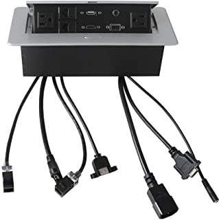 1 USB with 5.5 ft Cables CAT6 Conference Table Connectivity Box 2 AC Power+ 1 VGA+ 1 HDMI+2 RJ45 + 1 3.5mm Audio