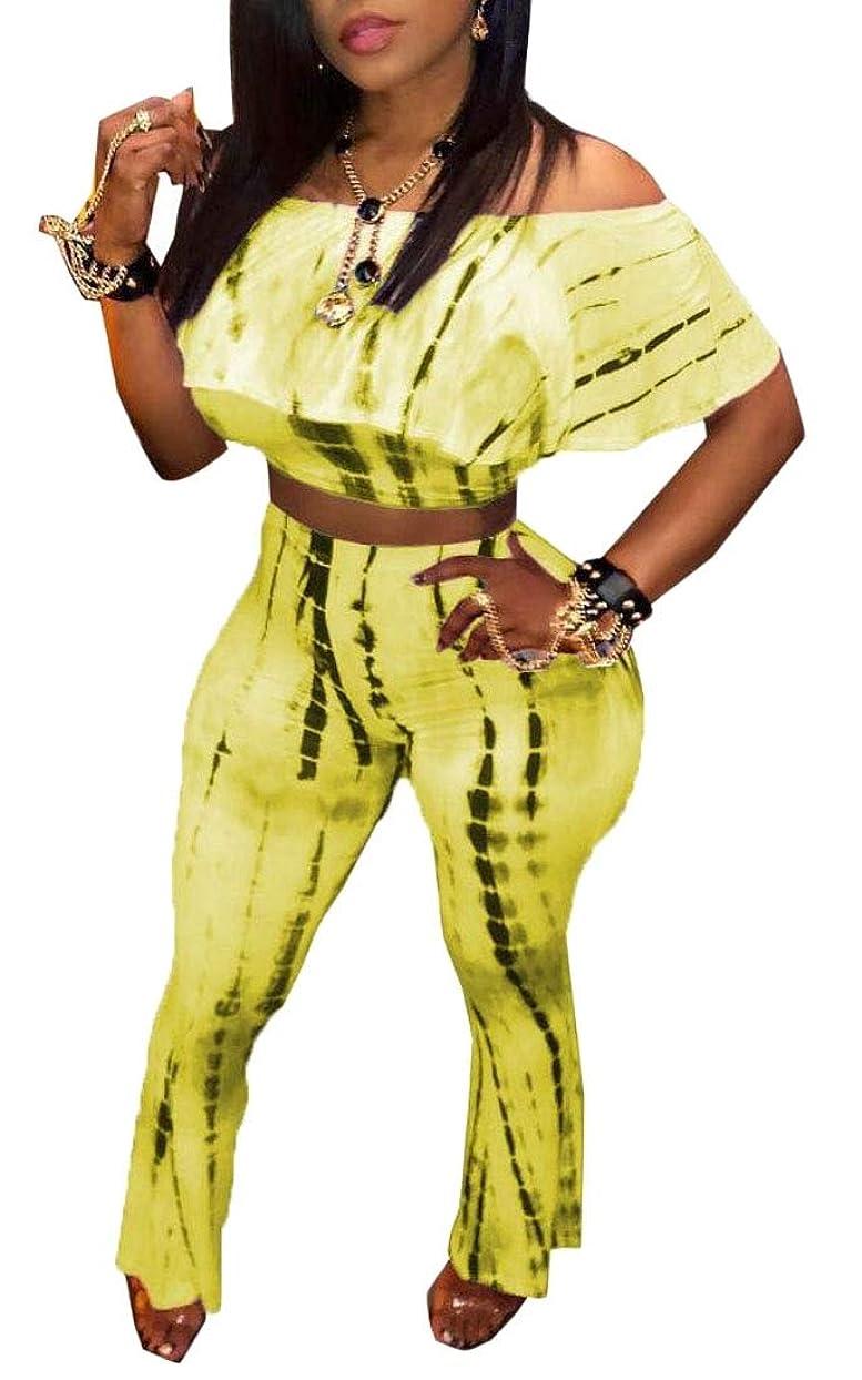 アルバムおしゃれじゃないしたがって女性2ピースセット作物トップフリルセクシーベルボトムフレアーパンツの衣装