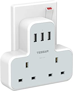 Multi Plug Extension Socket Adapter with 3 USB, TESSAN Double Plugs 2 Way Wall Electrical Dual Extender Outlet Adaptor, 3 ...