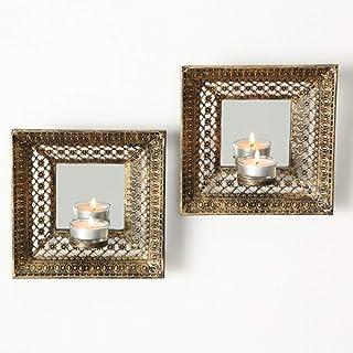 Home Collection Lot de 2 bougeoirs muraux en métal avec miroir Doré vieilli Hauteur 18 cm