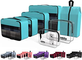 Packing Cubes 7-Pcs Travel Organizer Accessories with Shoe Bag and 2 Toiletry Bags(Blue)