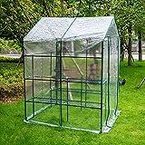 Mini Invernadero para plantas de jardín, bolsa para plantas de exterior, 143 x 143 x 195 cm, verde transparente, Edificio de cinco niveles de plástico con cubierta de PVC